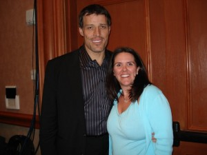 Stacey Hylen with Tony Robbins at Ultimate Business Growth Mastery with Tony Robbins and Chet Holmes.